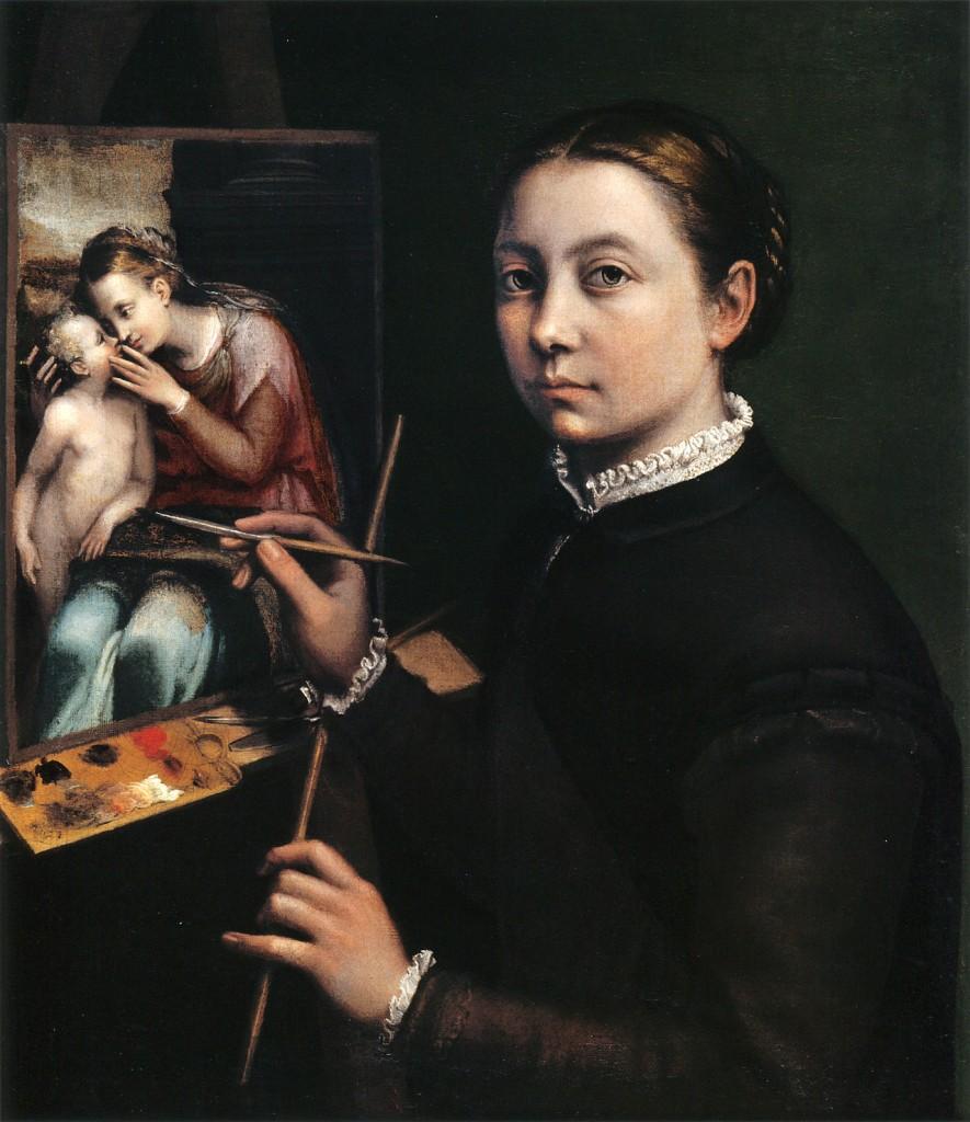 Sofonisba Anguissola. Autorretrato pintando a la Virgen y el Niño. 1556. Muzeum Zamet w Lancucie, Lancut.