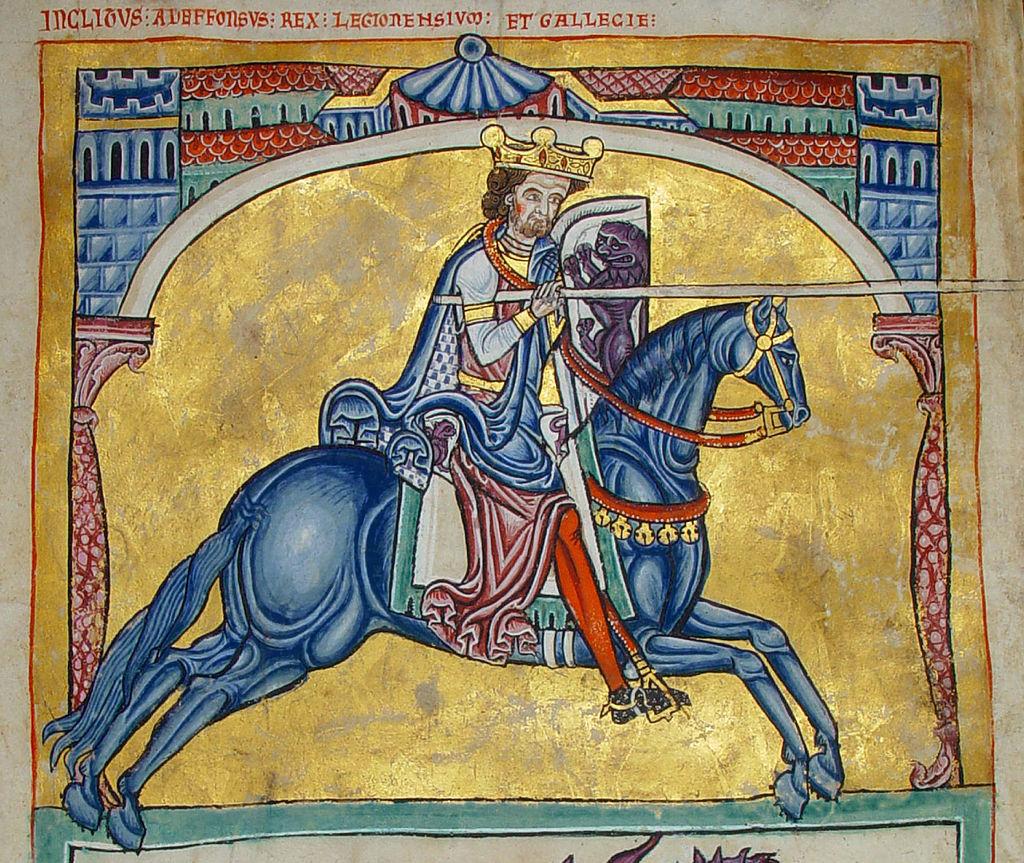 Alfonso IX. Miniatura del Tumbo A de la Catedral de Santiago de Compostela