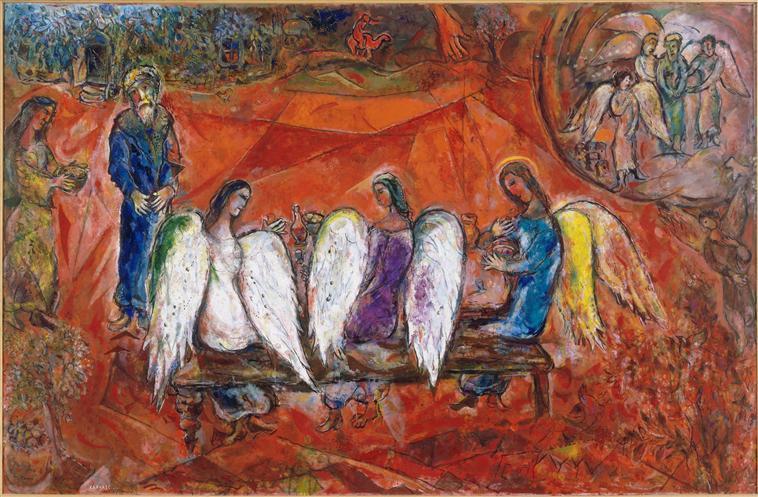 Abraham y los tres ángeles, de Marc Chagall (1966)