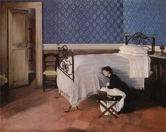 Adriano Cecioni - Interno con figura (1868)