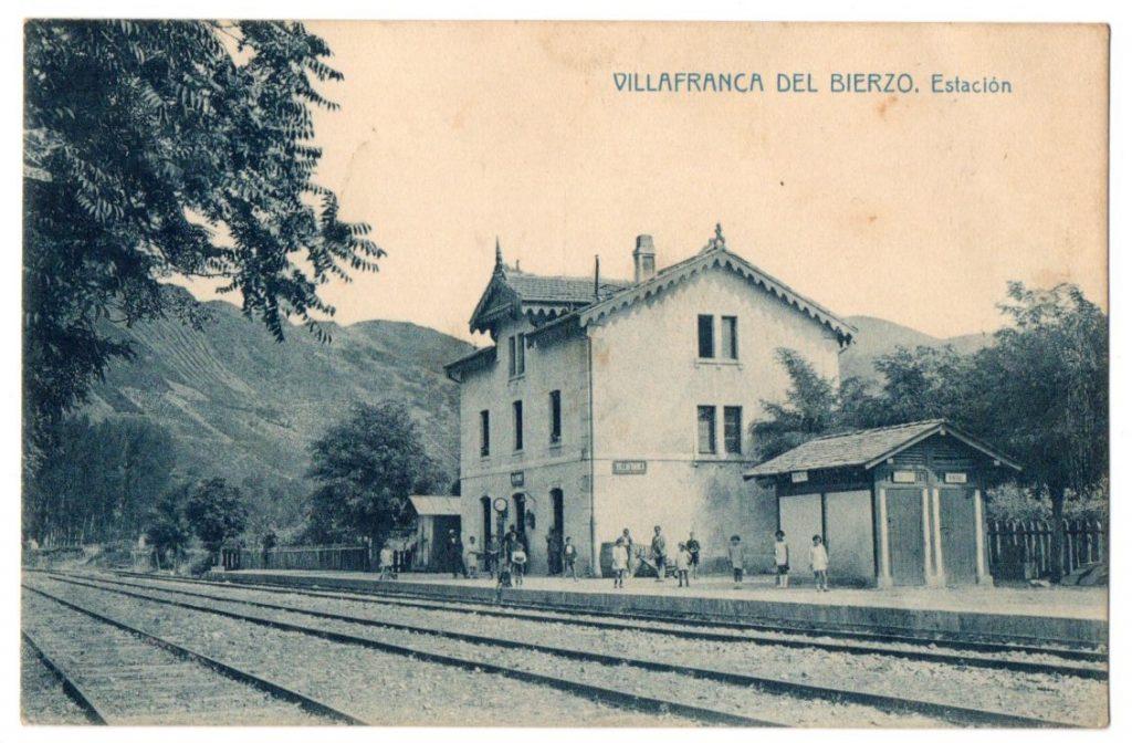 Postal antigua de la antigua estación de tren de Villafranca del Bierzo, término del ramal desde Toral de Los Vados.