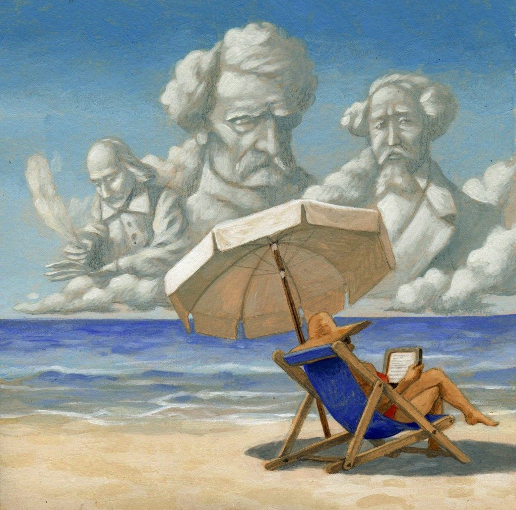 Beach-reading-literature-tablet. Maurizio Quarello |