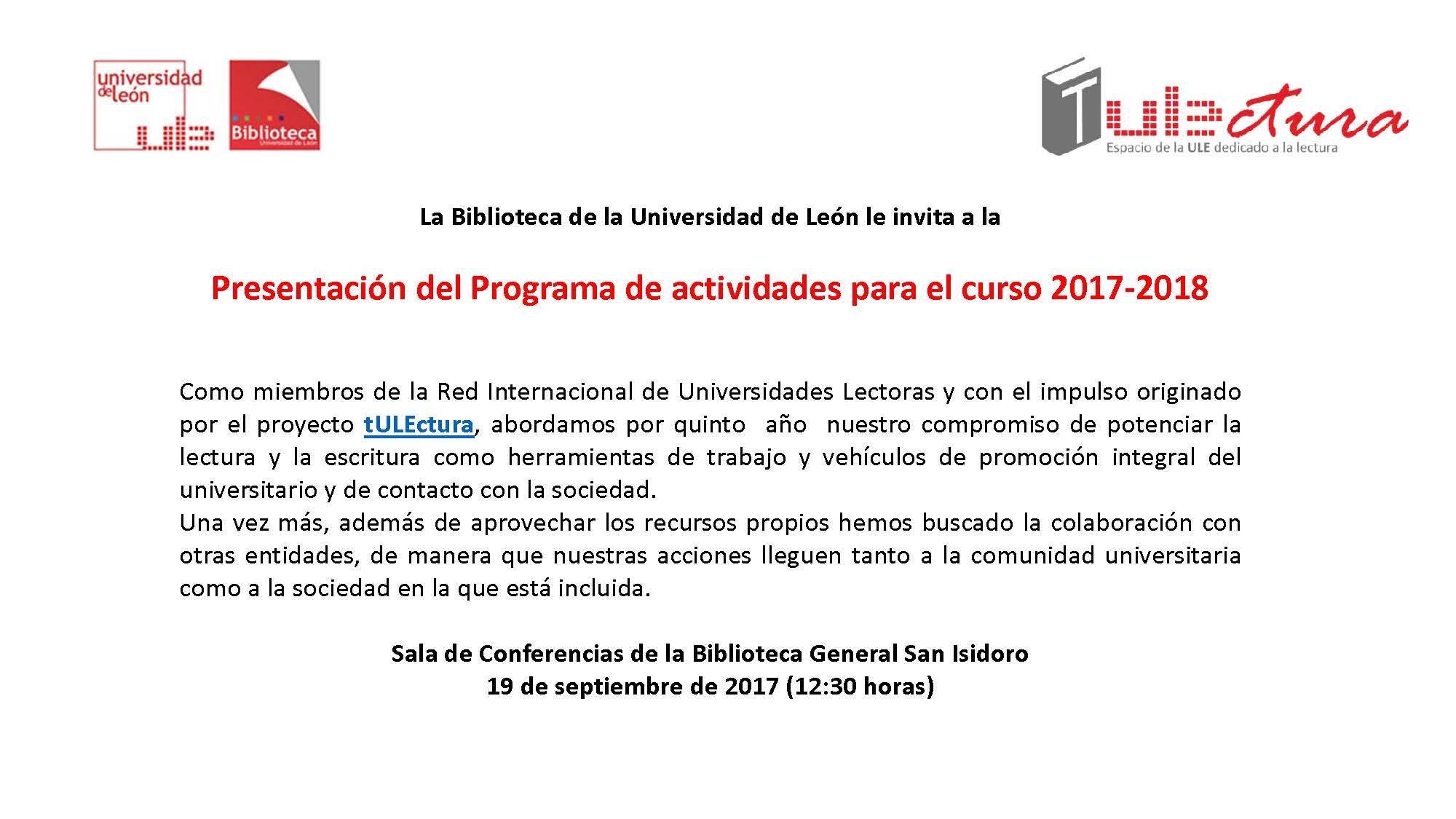 Presentación del Programa de actividades para el curso 2017-2018 ...